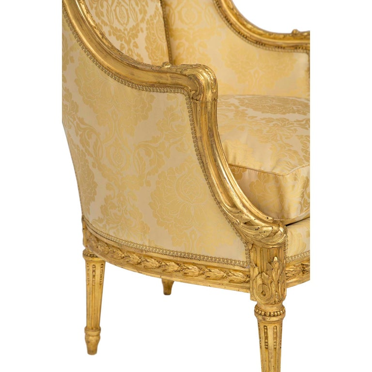 Pair of French 19th Century Louis XVI St. Giltwood Bergère For Sale 2