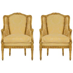 Pair of French 19th Century Louis XVI St. Giltwood Bergères