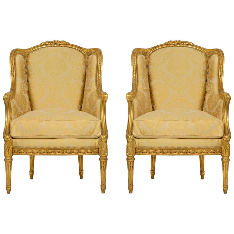 Pair of French 19th Century Louis XVI St. Giltwood Bergères For Sale