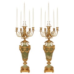 Pair of French 19th Century Louis XVI Style Green Onyx and Ormolu Candelabras
