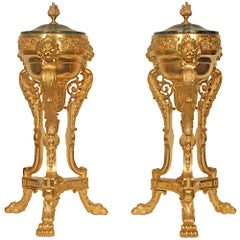Pair of French 19th Century Louis XVI Style Lidded Urns