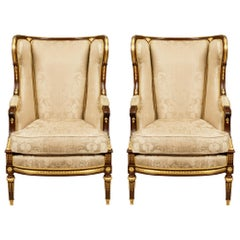 Pair of French 19th Century Louis XVI St. Mahogany and Ormolu Bergère À Oreille