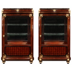 Pair of French 19th Century Louis XVI St. Mahogany and Ormolu Cabinets