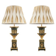 Pair of French, 19th Century Louis XVI St. Marble and Ormolu Lamps