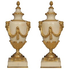 Pair of French 19th Century Louis XVI Style Marble and Ormolu Lidded Casolettes