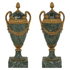 Pair of French 19th Century Louis XVI Style Marble and Ormolu Mounted Urns