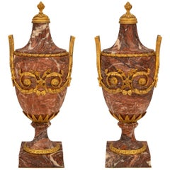 Pair of French 19th Century Louis XVI St. Marble and Ormolu Urns, Signed E. Kahn