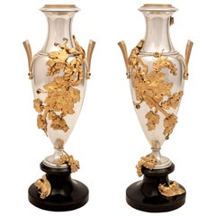 Pair of French 19th Century Louis XVI Style Marble, Bronze and Ormolu Vases