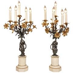 Pair of French 19th Century Louis XVI Style Marble, Ormolu, Bronze Candelabra