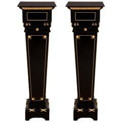 Pair of French 19th Century Louis XVI St. Napoleon III Period Pedestals