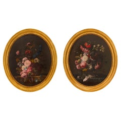 Pair of French 19th Century Louis XVI St. Oil on Canvas Still Life Paintings