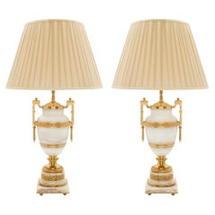 Pair of French 19th Century Louis XVI St. Onyx and Ormolu Lamps