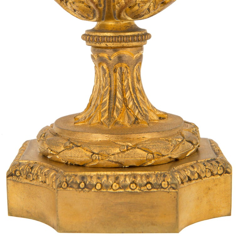 Pair of French 19th Century Louis XVI St. Onyx and Ormolu Lidded Urns For Sale 8