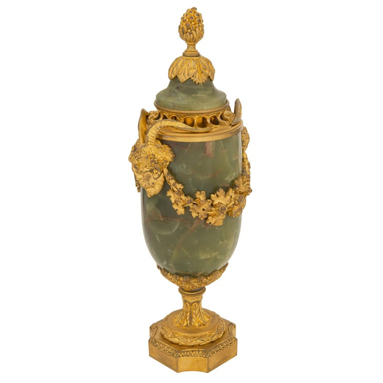Pair of French 19th Century Louis XVI St. Onyx and Ormolu Lidded Urns In Good Condition For Sale In West Palm Beach, FL