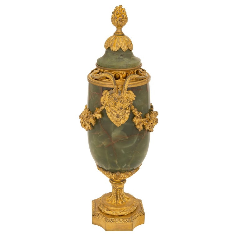Pair of French 19th Century Louis XVI St. Onyx and Ormolu Lidded Urns For Sale 1
