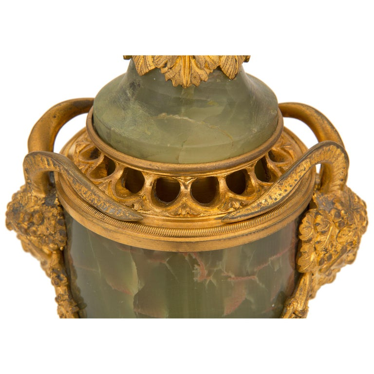 Pair of French 19th Century Louis XVI St. Onyx and Ormolu Lidded Urns For Sale 4