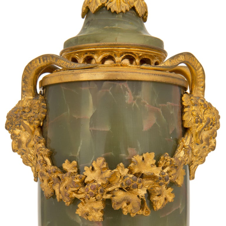 Pair of French 19th Century Louis XVI St. Onyx and Ormolu Lidded Urns For Sale 5