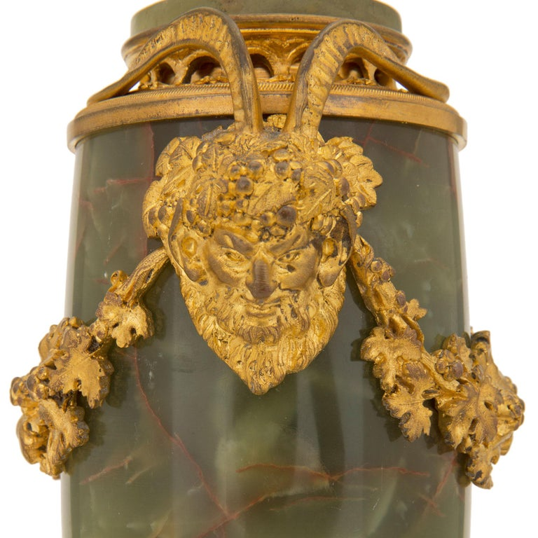 Pair of French 19th Century Louis XVI St. Onyx and Ormolu Lidded Urns For Sale 6