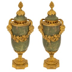 Pair of French 19th Century Louis XVI St. Onyx and Ormolu Lidded Urns
