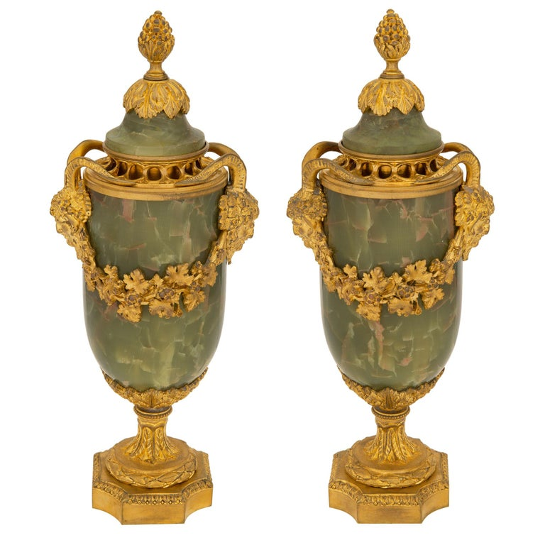Pair of French 19th Century Louis XVI St. Onyx and Ormolu Lidded Urns For Sale