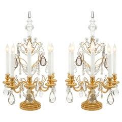 French 19th Century Louis XVI Style Ormolu and Baccarat Crystal Girandole, Pair