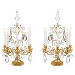 Pair of French 19th Century Louis XVI St. Ormolu and Baccarat Crystal Girandoles