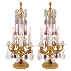 Pair of French 19th Century Louis XVI Style Ormolu and Baccarat Crystal Lamps