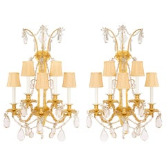 Pair of French 19th Century Louis XVI St. Ormolu and Baccarat Crystal Sconces