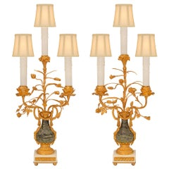 Pair of French 19th Century Louis XVI St. Ormolu and Marble Candelabra Lamps