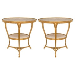 Pair of French 19th Century Louis XVI St. Ormolu and Marble Guéridon Side Tables