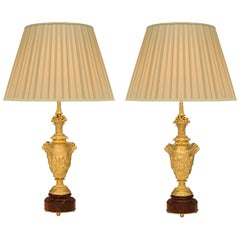 Pair of French 19th Century Louis XVI St. Ormolu and Marble Lamps