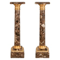Pair of French 19th Century Louis XVI St. Ormolu and Marble Pedestal Columns