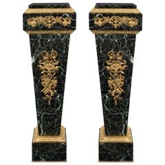 Pair of French 19th Century Louis XVI Style Ormolu and Marble Pedestal