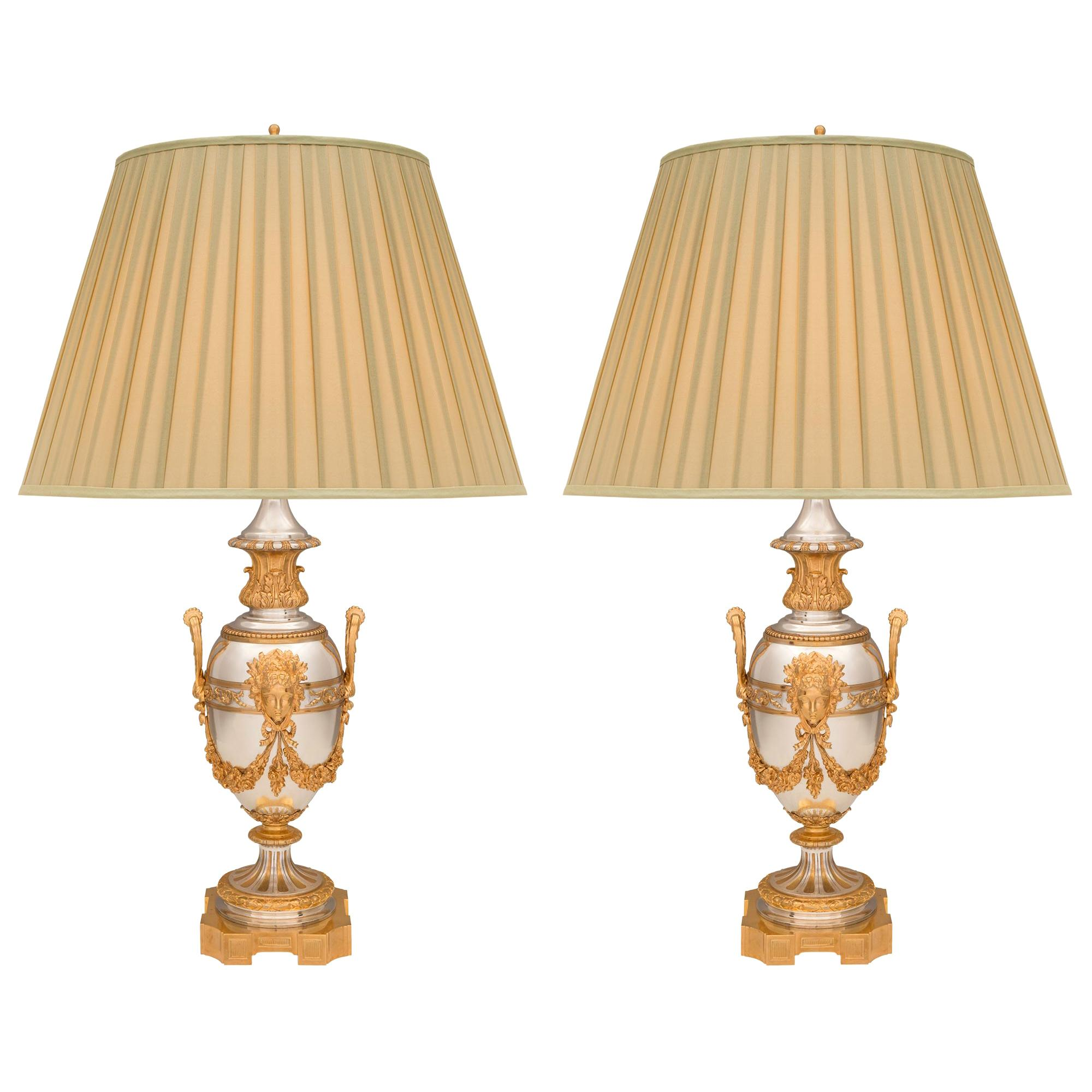 Pair of French 19th Century Louis XVI St. Ormolu and Silvered Bronze Lamps
