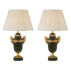 Pair of French 19th Century Louis XVI St. Ormolu and Vert Antique Marble Lamps