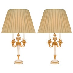 Pair of French 19th Century Louis XVI St. Ormolu and White Carrara Marble Lamps