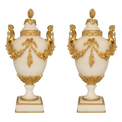 Pair of French 19th Century Louis XVI St. Ormolu and White Carrara Marble Urns