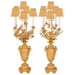 Pair of French 19th Century Louis XVI St. Ormolu Candelabras Lamps