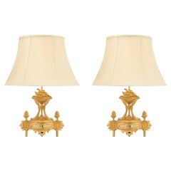 Pair of French 19th Century Louis XVI Style Ormolu Lamps