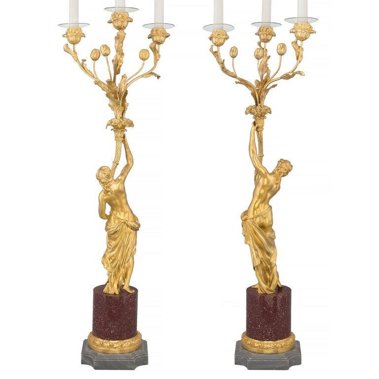 French Pair of 19th Century Louis XVI Style Ormolu, Marble and Porphyry Candelabras For Sale