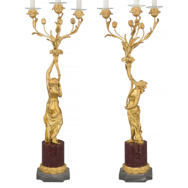 Pair of 19th Century Louis XVI Style Ormolu, Marble and Porphyry Candelabras In Excellent Condition For Sale In West Palm Beach, FL