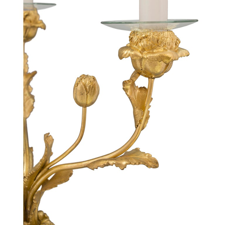 Pair of 19th Century Louis XVI Style Ormolu, Marble and Porphyry Candelabras For Sale 2