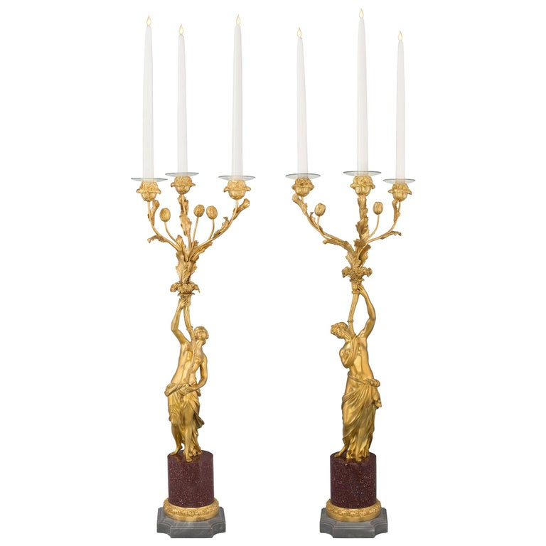 Pair of 19th Century Louis XVI Style Ormolu, Marble and Porphyry Candelabras For Sale