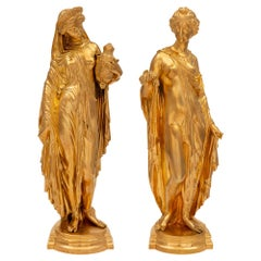 Pair of French 19th Century Louis XVI Style Ormolu Statues