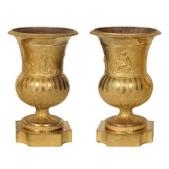 Pair of French 19th Century Louis XVI St. Ormolu Urns