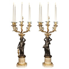 Pair of French 19th Century Louis XVI St. Patinated Bronze and Ormolu Candelabra