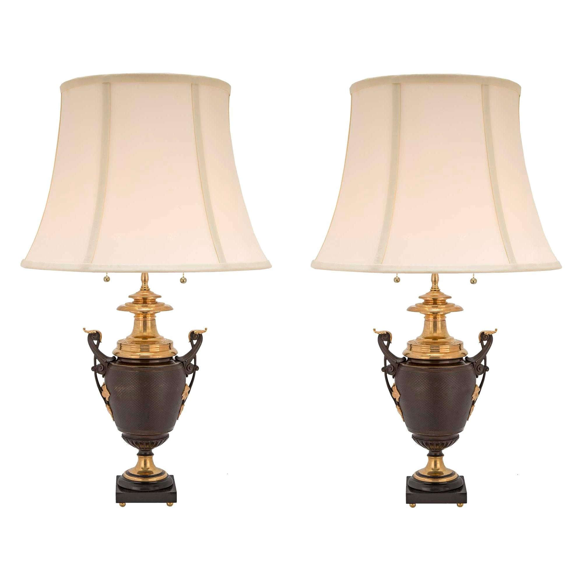 Pair of French 19th Century Louis XVI St. Patinated Bronze and Ormolu Lamps