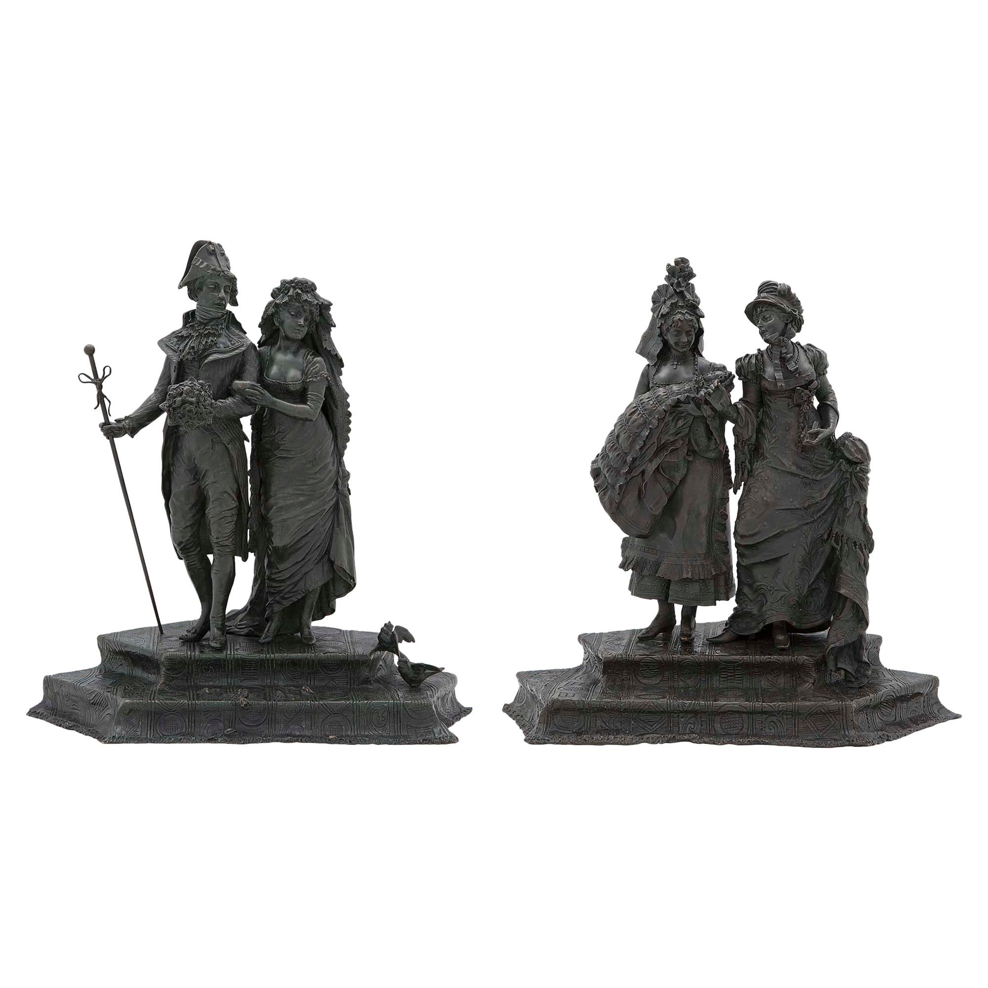 Pair of French 19th Century Louis XVI St. Patinated Bronze Sculptures