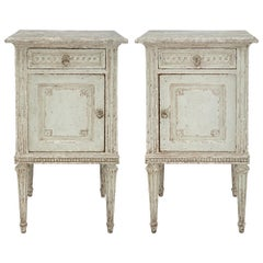 Pair of French 19th Century Louis XVI St. Patinated Wood Side Tables/Chests