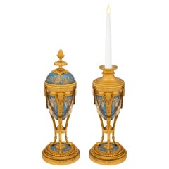 Pair of French 19th Century Louis XVI St. Porcelain and Ormolu Cassolettes